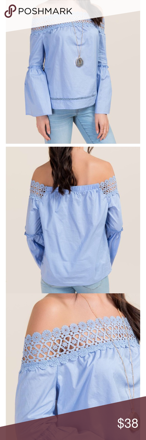"""Crochet trim off the shoulder poplin top - 20"""" length from shoulder to hem - 43"""" bust - 43"""" waist - measured from a size small                                              - 100% Cotton - Hand Wash - Imported Francesca's Collections Tops Blouses"""