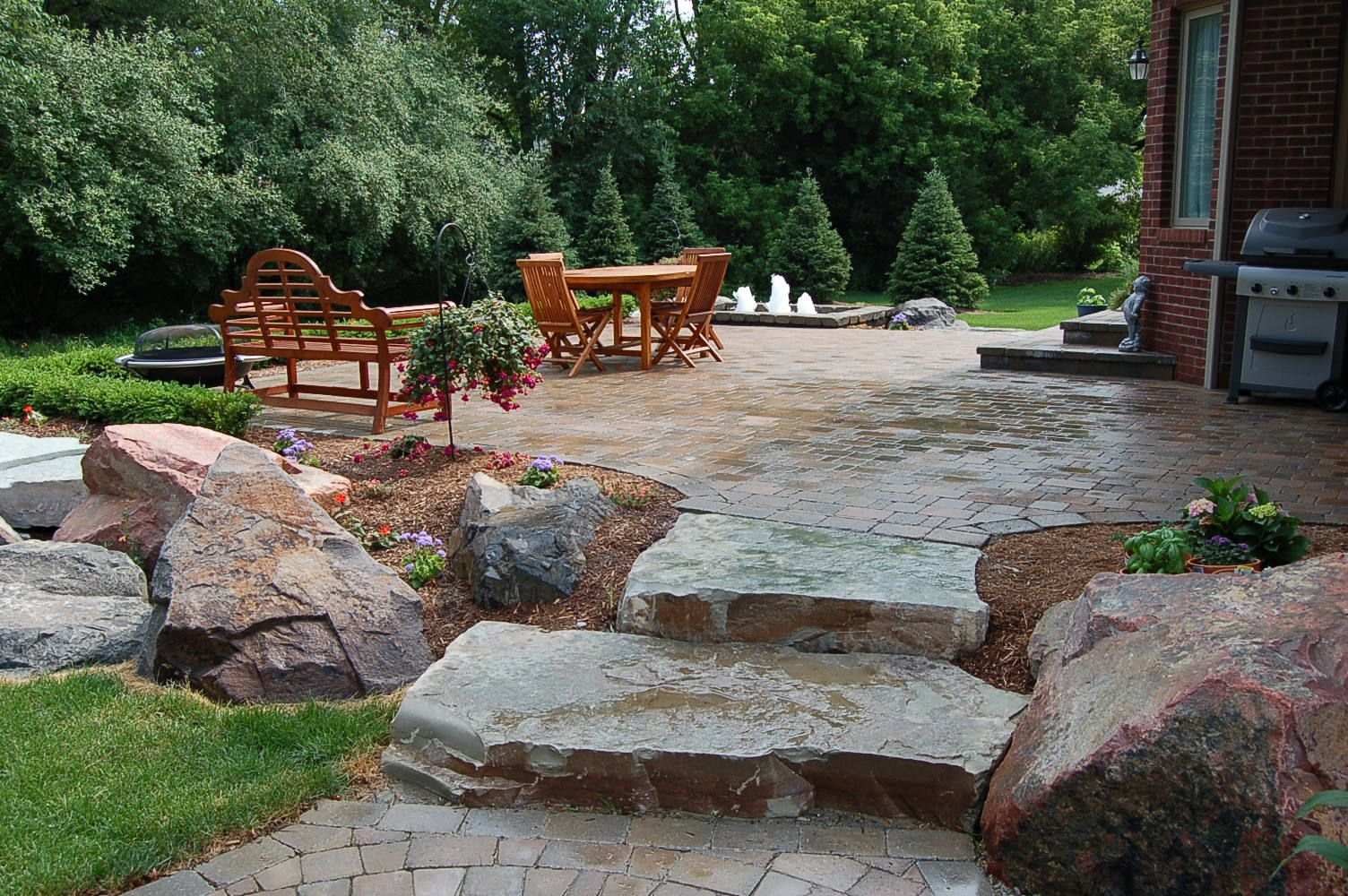 Natural Stone Patio : Brick paver patio natural stone steps water fountain