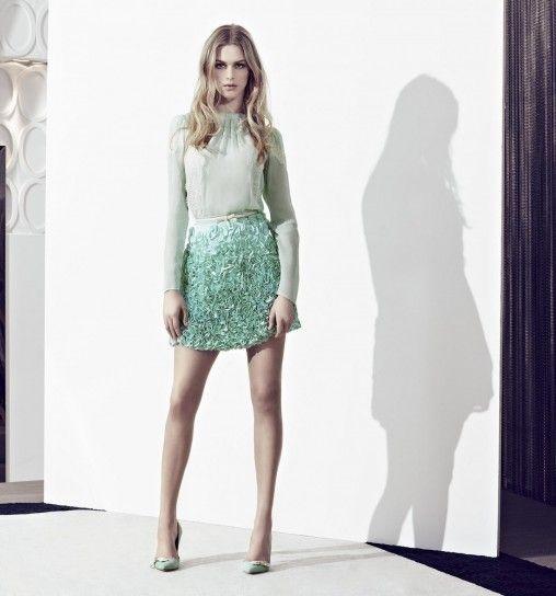 Dalla collezione primavera estate 2013 di abbigliamento Elisabetta Franchi, gonna con rose applicate.