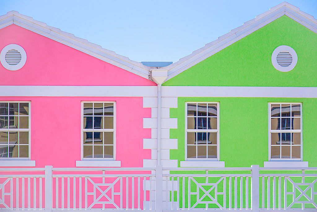 Bahamas architecture brightly colored pink green houses colonial style