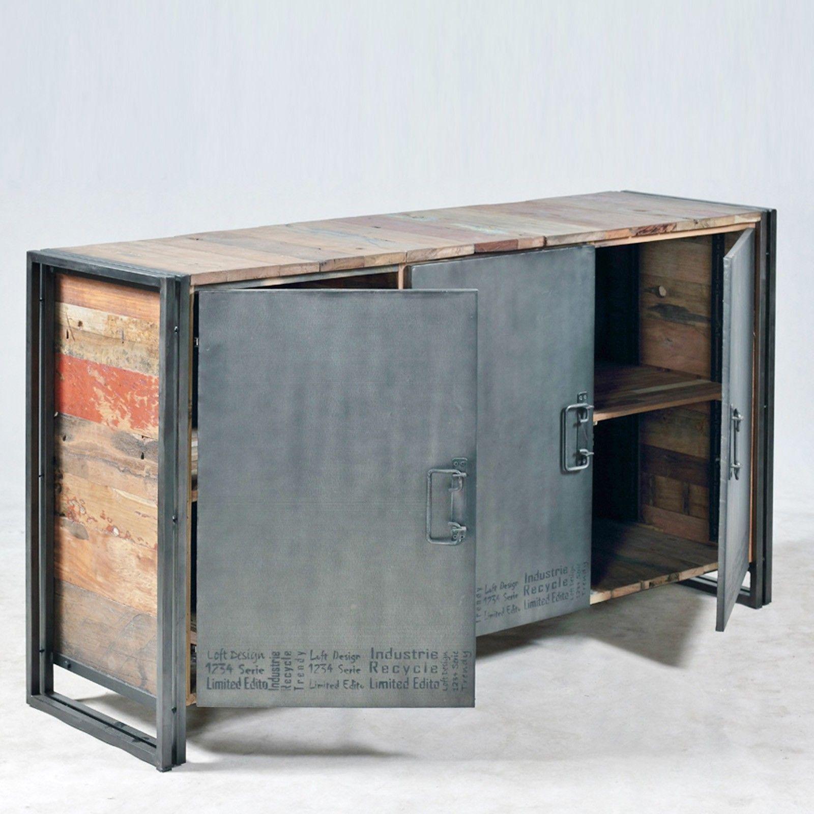 Mobilier Loft Industriel Buffet Trois Portes Edition Originale Modele Ed193 Plateau En Bois De Bateaux Avec Images Commode Design Mobilier De Salon Meubles Industriels