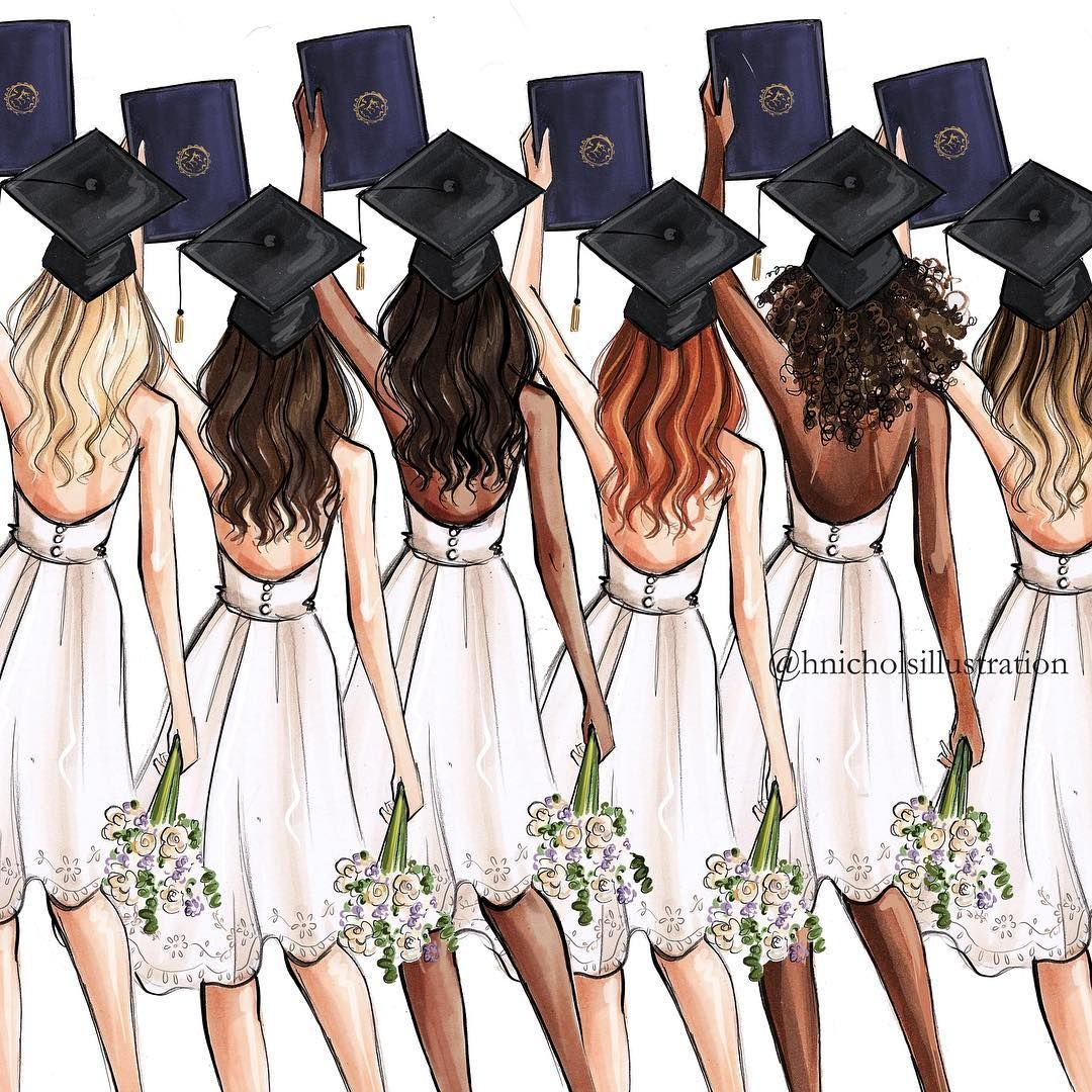 14 3k Likes 125 Comments Holly Nichols Hnicholsillustration On Instagram We All Need Somebody To Lean Graduation Girl Drawings Of Friends Bff Drawings