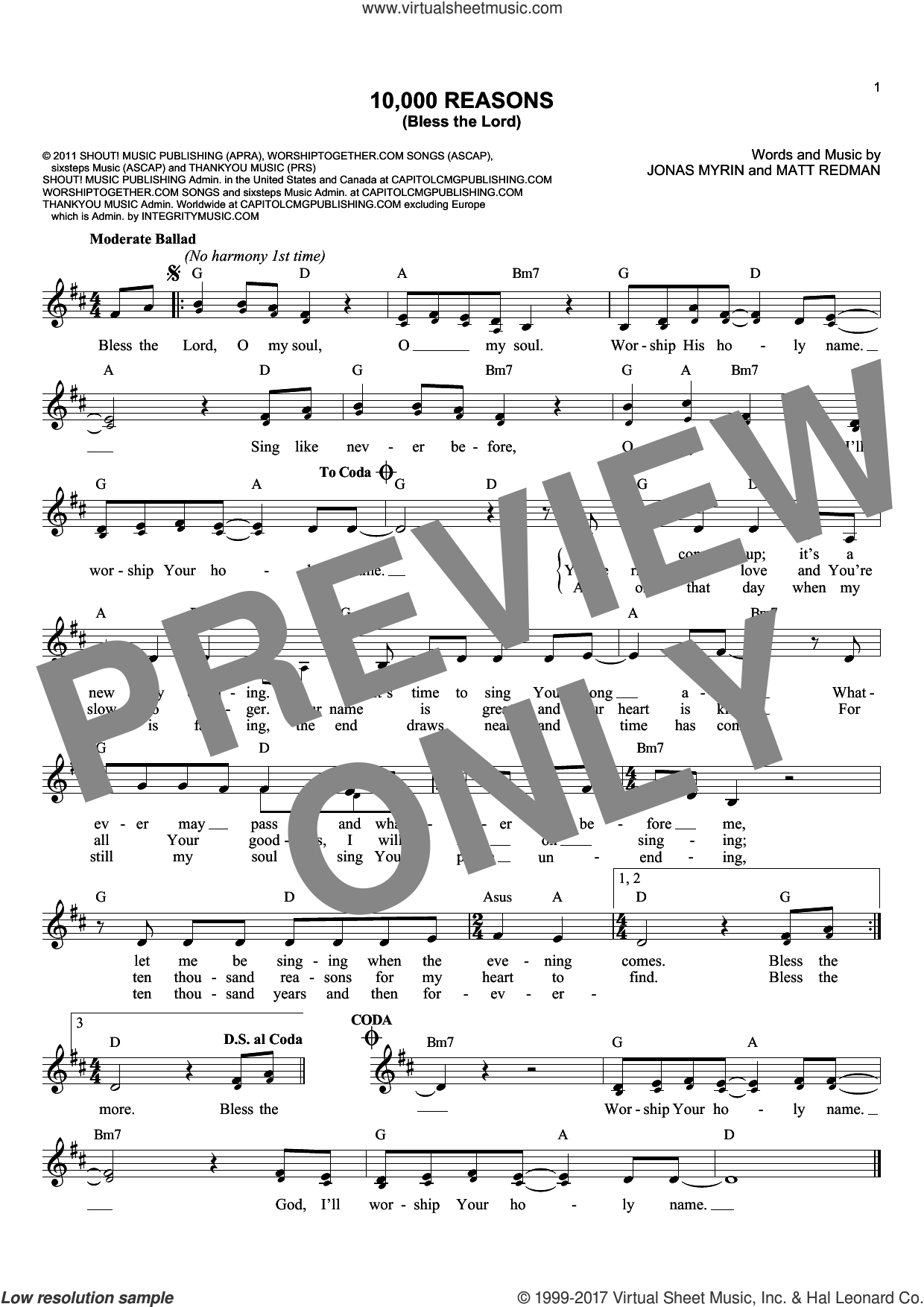 Download And Print 10000 Reasons Bless The Lord Sheet Music For