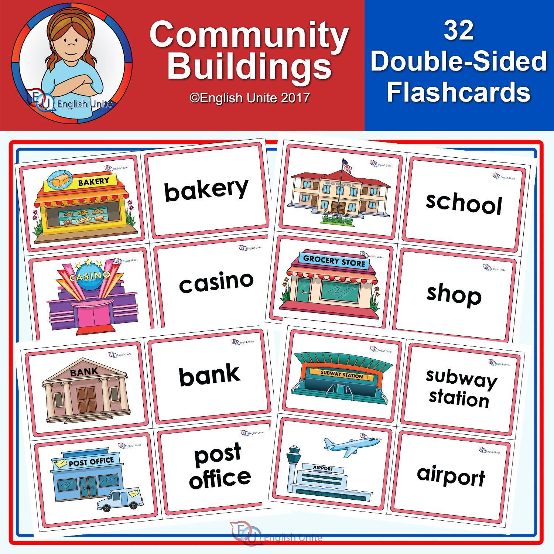 Flashcards Community Buildings English Unite Flashcards Community Building Flashcards For Kids