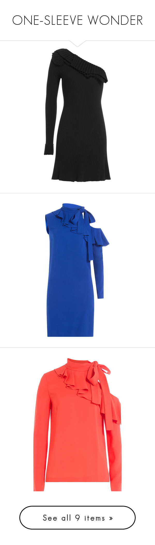 """""""ONE-SLEEVE WONDER"""" by stylebop ❤ liked on Polyvore featuring dresses, black, long sleeve dresses, one shoulder long sleeve dress, one sleeve dress, long sleeve pleated dress, pleated mini dress, blue, sleeved dresses and blue fitted dress"""