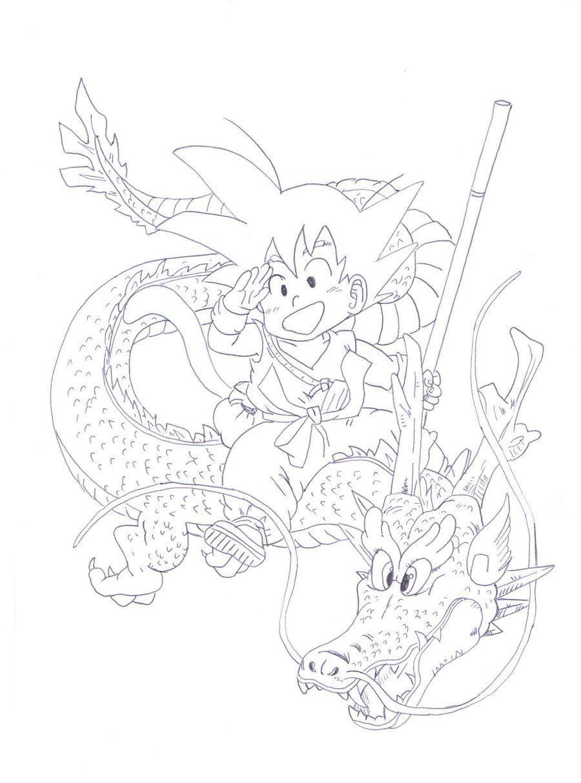 Goku riding ? Shenron by babashu-chan | LineArt: Dragon Ball ...