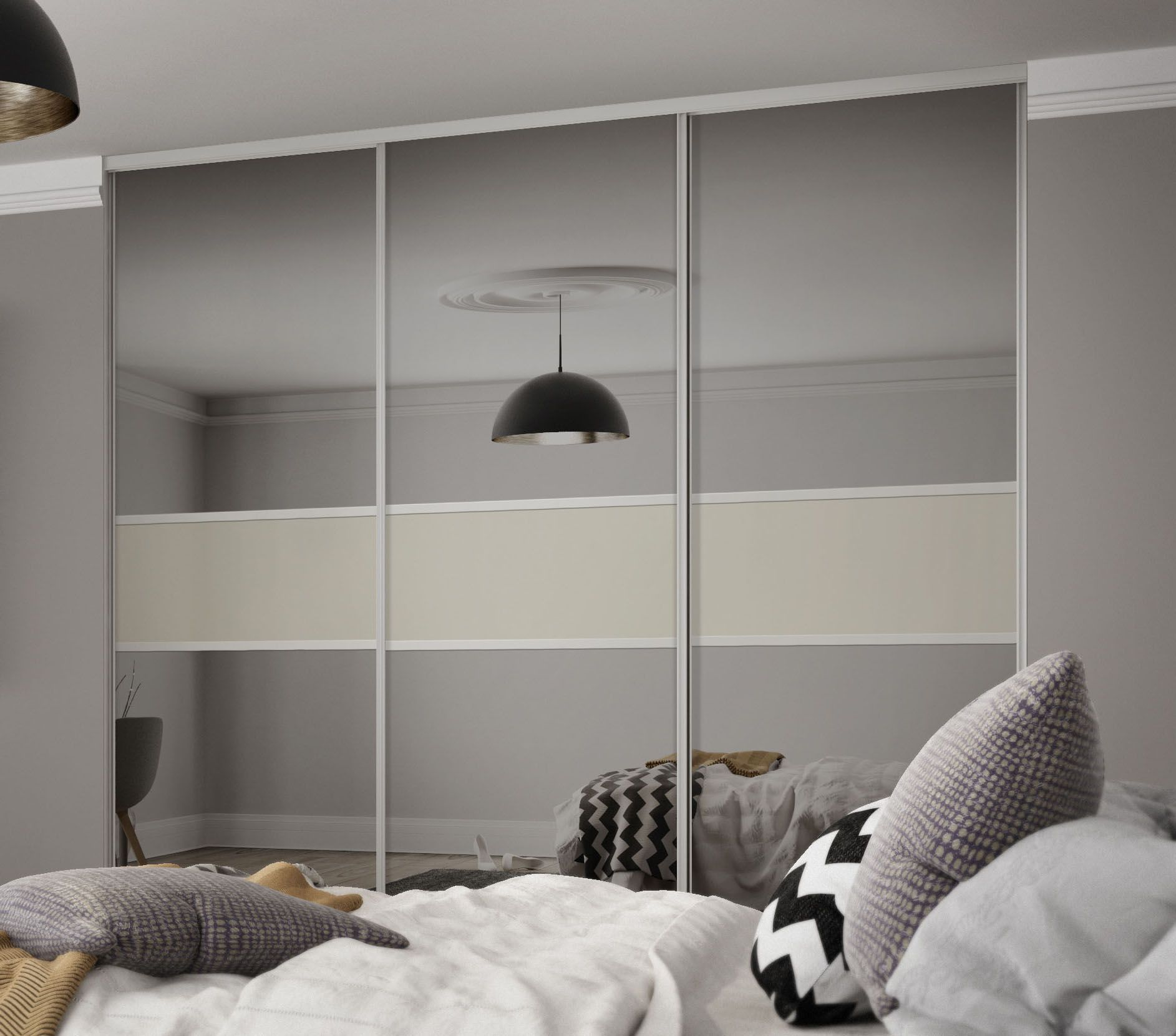 Clic 3 Panel Fineline Sliding Wardrobe Doors In Grey Mirror And Soft White Gl With Silver Frame