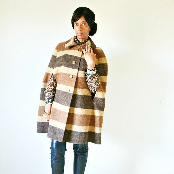 vintage 60s 70s tan CAFE LATTE wool STRIPED cape by PasseNouveauVintage, $86.00