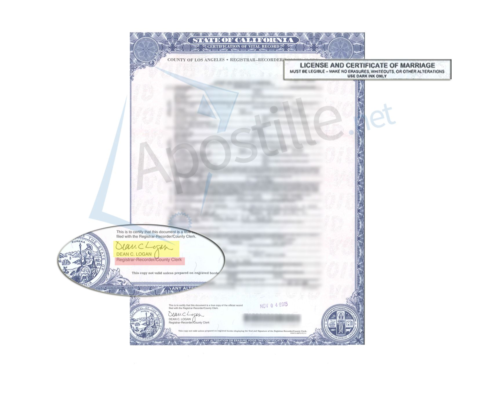 los angeles county recorder marriage license