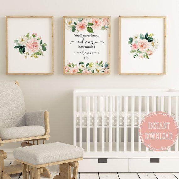 12437be6d363f Girls room decor Nursery wall decor floral nursery prints, Baby girl ...