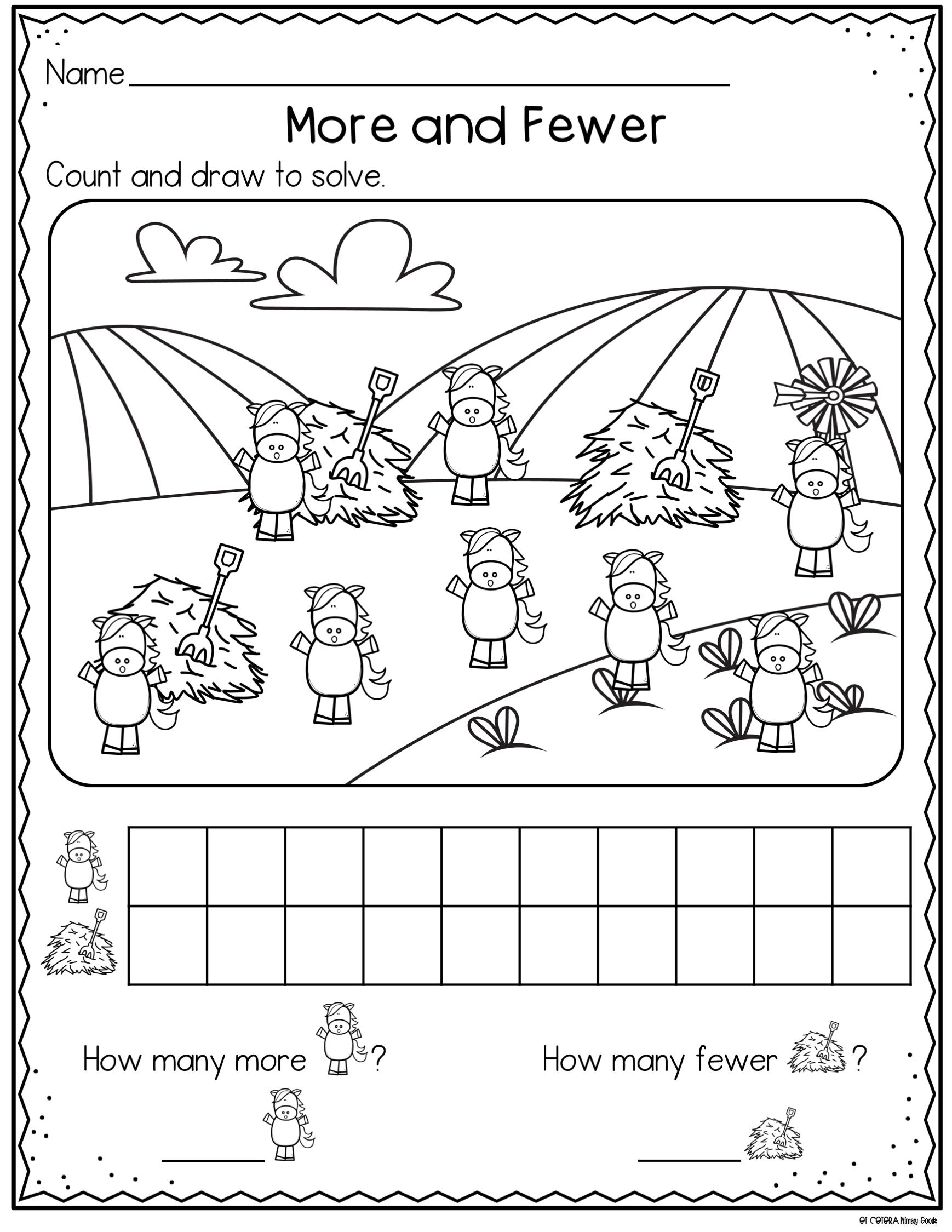 More And Fewer Comparing Sets Kindergarten Math Worksheets Kinder Math Stations Second Grade Math