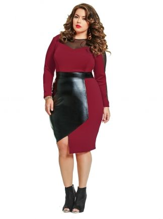Constance Faux Leather Insert Dress Wine Whats New Monif C