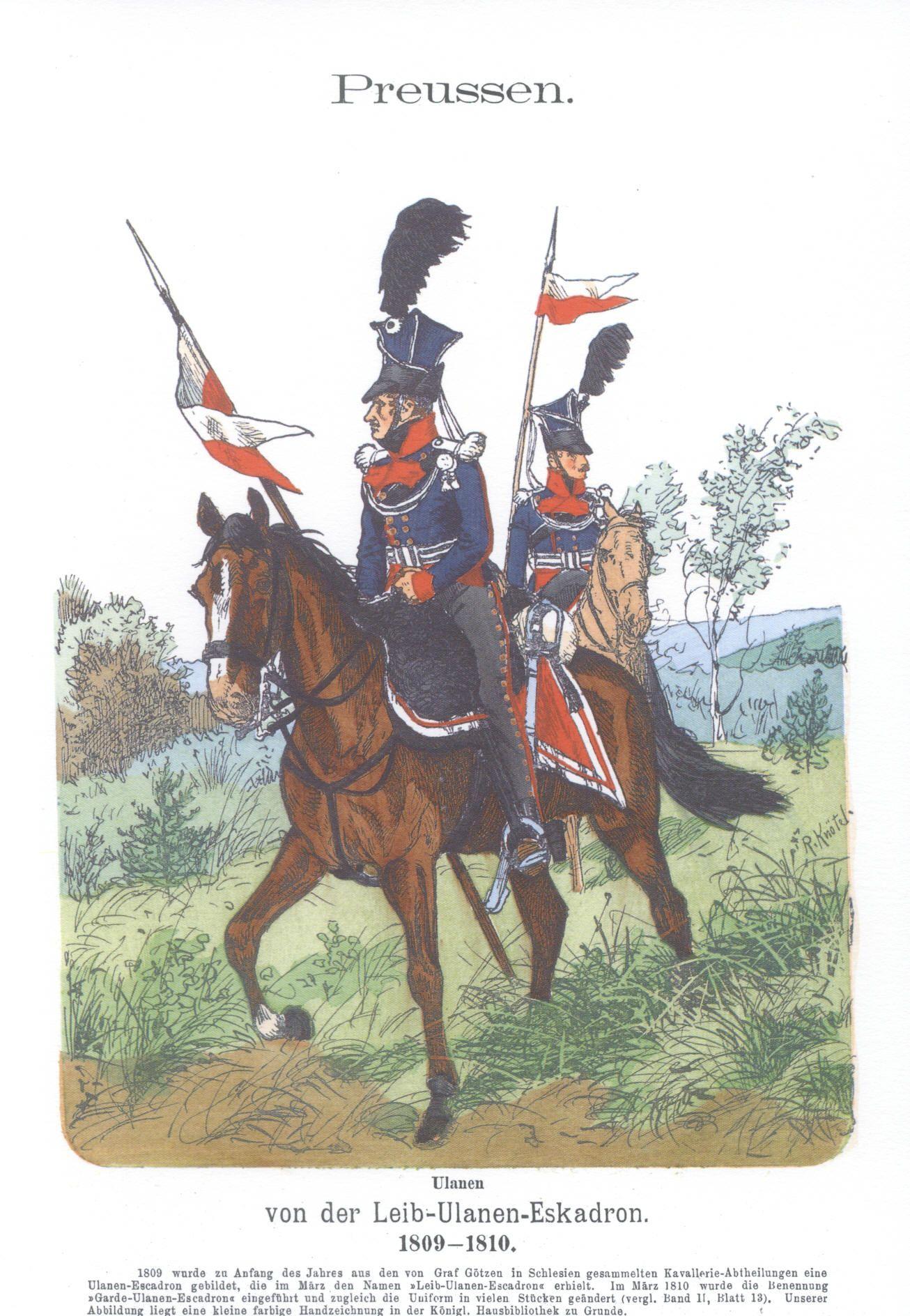 Vol 11 - Pl 19 - Preußen. Ulanen von der Leib-Ulanen-Eskadron 1809-1810.