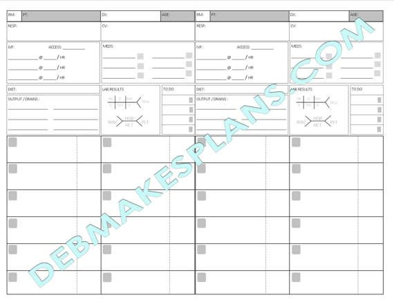 nurse assignment sheet printable