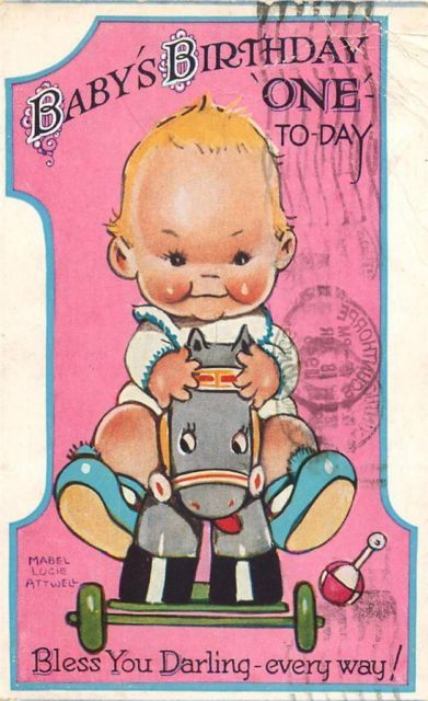 Mabel Lucie Attwell birthday postcard