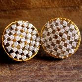 Cz Studded Round Sparkle Stud Earrings In Silver Alloy For Daily Wear Fashion With Contemporary Look