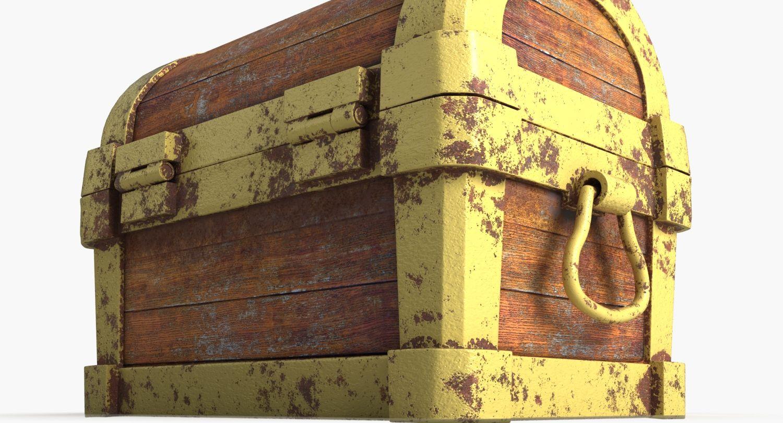 3d model #chest #wood #treasure #gold #case #bin #antique #coffre