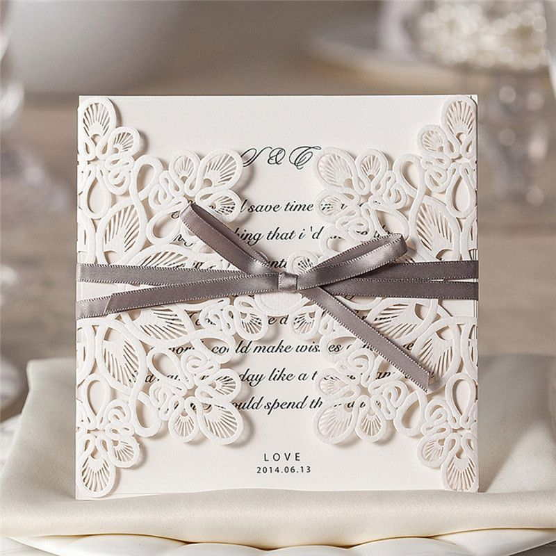 100Pcs 2017 New Arrival Gold Flowers Wedding Invitations Cards Laser ...