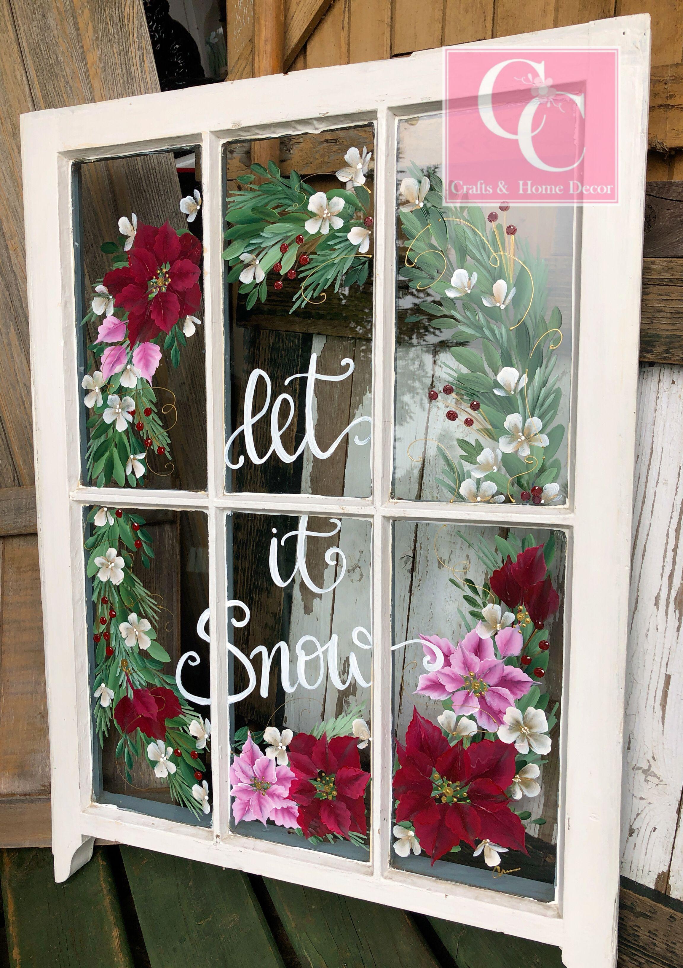 Hand Painted Vintage Christmas Wreath Window Christmas Paintings Crafts Hand Painted Windows