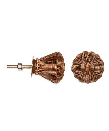 Look what I found on #zulily! Woven Copper Wire Rattan Knob - Set of Two #zulilyfinds