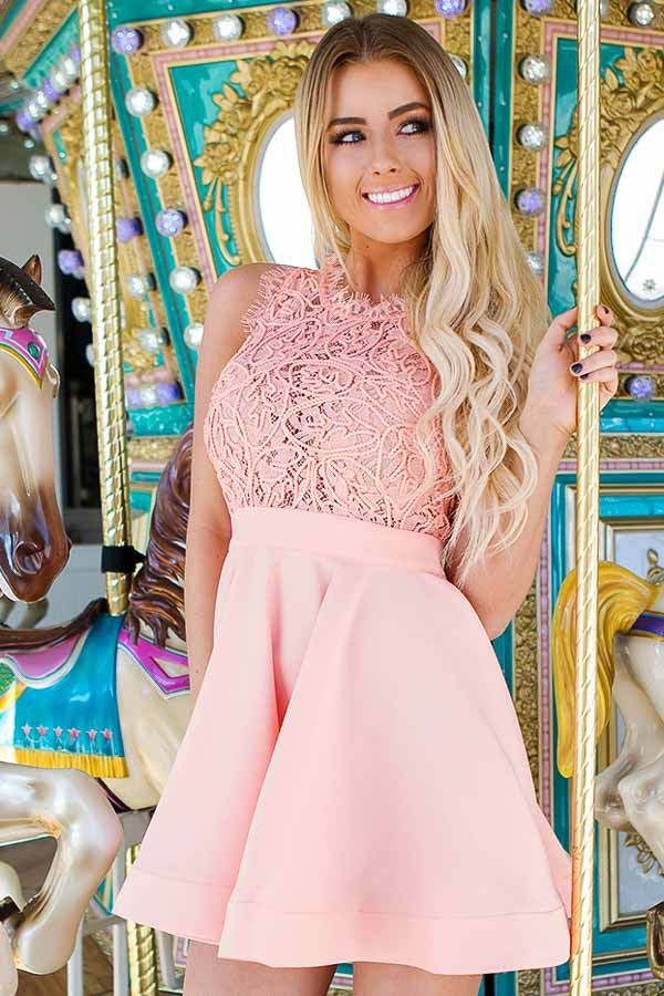 18482de16be Lime Lush Boutique - Peach Sleeveless Flare Dress with Lace Bodice ...