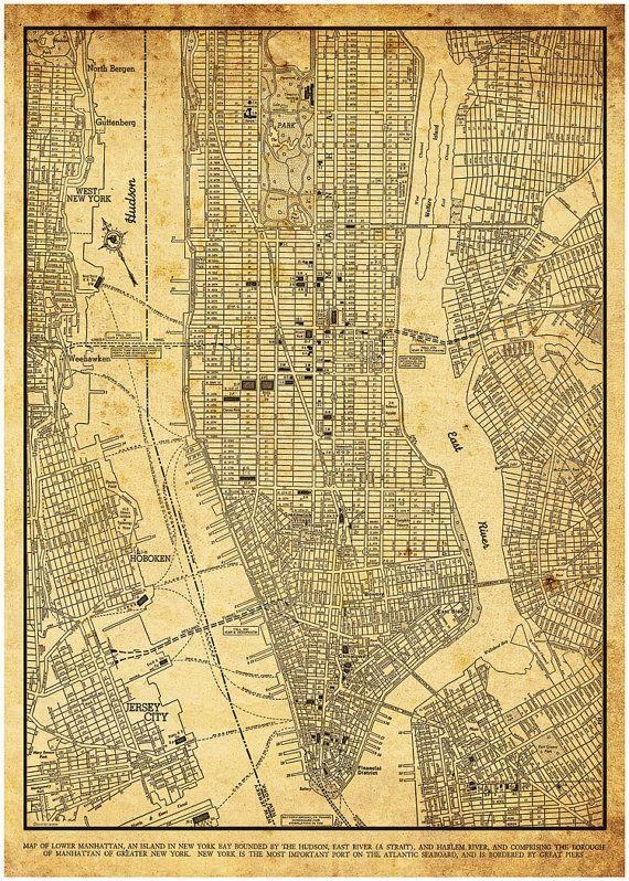 Street Map Of Manhattan Nyc.New York Map Street Map Manhattan Vintage Sepia Grunge