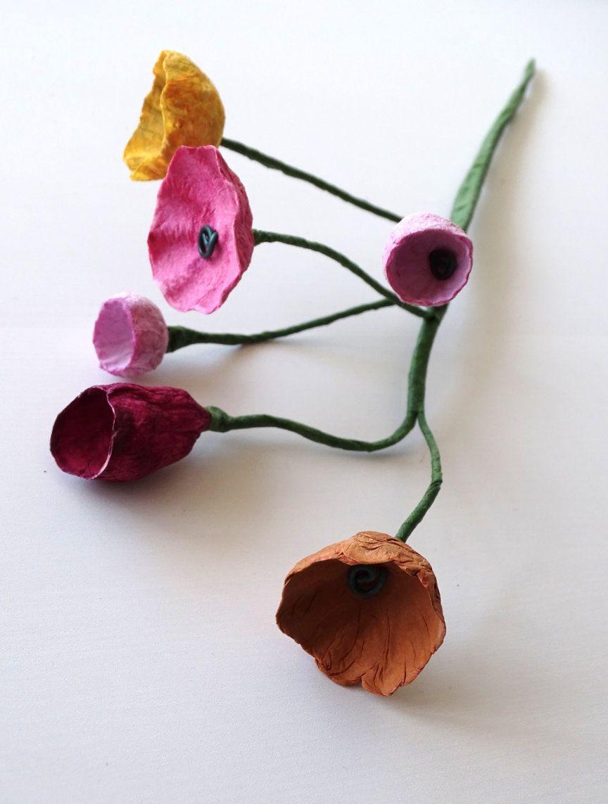 Paper Mache Flower with stems, Paper Flowers Branch, Paper Flower Arrangement, Home Decoration, Modern Centerpieces, Wedding decor #giantpaperflowers
