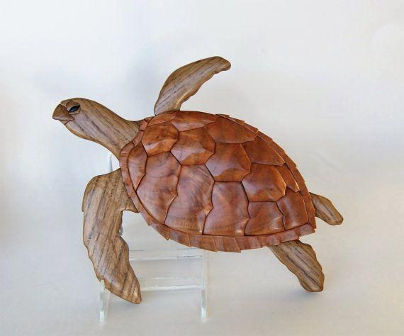 Loggerhead Sea Turtle Intarsia Wall Hanging Animal Wood