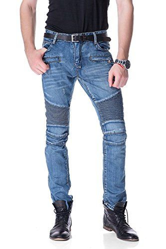 42d32c3f9ed4 Aiyino Men s Ripped Slim Straight Fit Biker Jeans  jenas