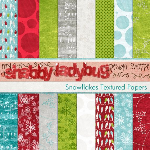 Snowflake Textured Digital Winter Christmas Papers INSTANT DOWNLOAD! Perfect kit for the little boy in your life!