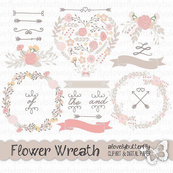 Chalkboard Wedding laurel clipart, wedding invitation ...