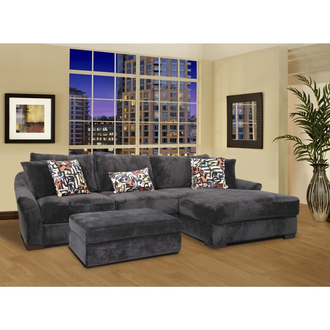 Sofa Beds Gray Velvet Oversized Sectional Sleeper Sofa With Left Chaise Combined With Rectangle Ottoman Storage Coffee Table