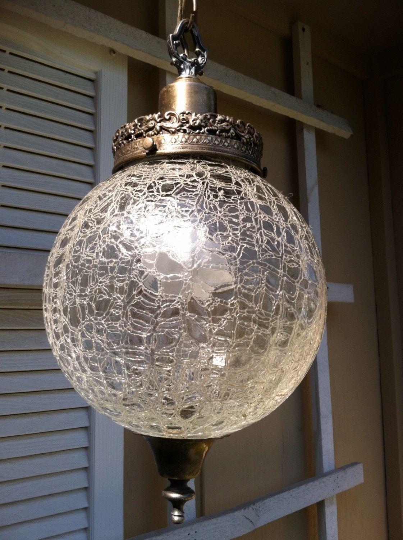 Vintage Swag Chandelier Brass With Crackle Glass By Campmetals 44 00 Swag Chandelier Brass Chandelier Hanging Lights