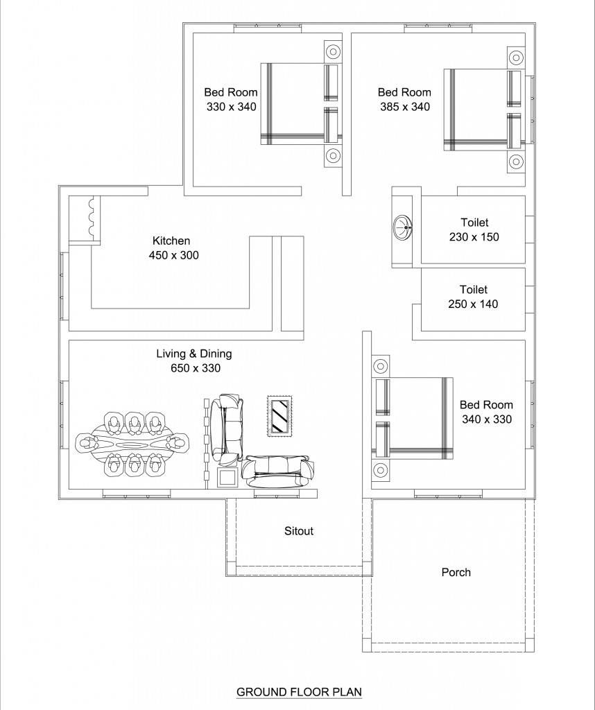 1309 Square Feet 3 Bedroom Low Budget Home Design And Plan
