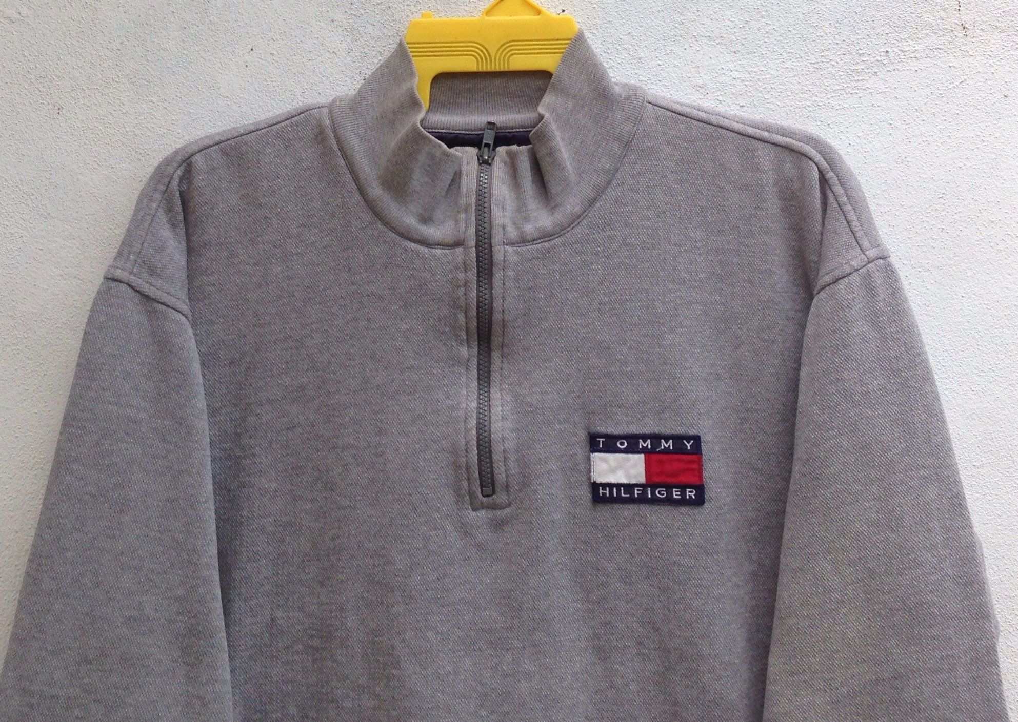 pretty nice 6d64c b10ee Vintage 90s Tommy Hilfiger Sweatshirts Half Zipper Small Logo Patches  Sweater Size Large by TwoNineVintageStore on Etsy