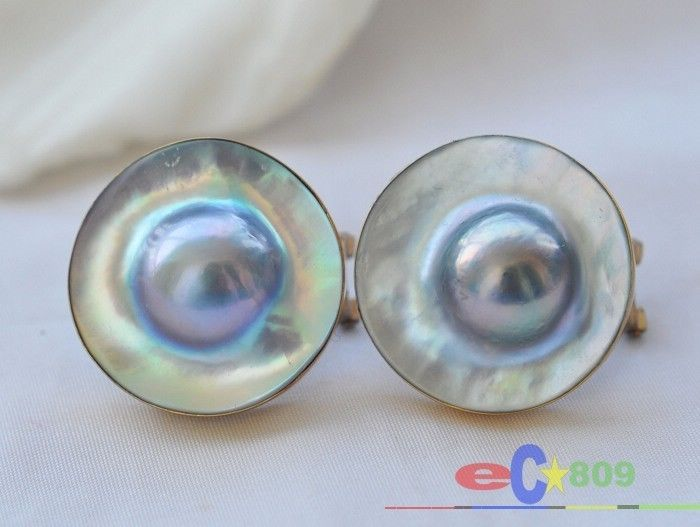 HUGE 20MM GRAY SOUTH SEA MABE PEARL 925SILVER GILD EARRING