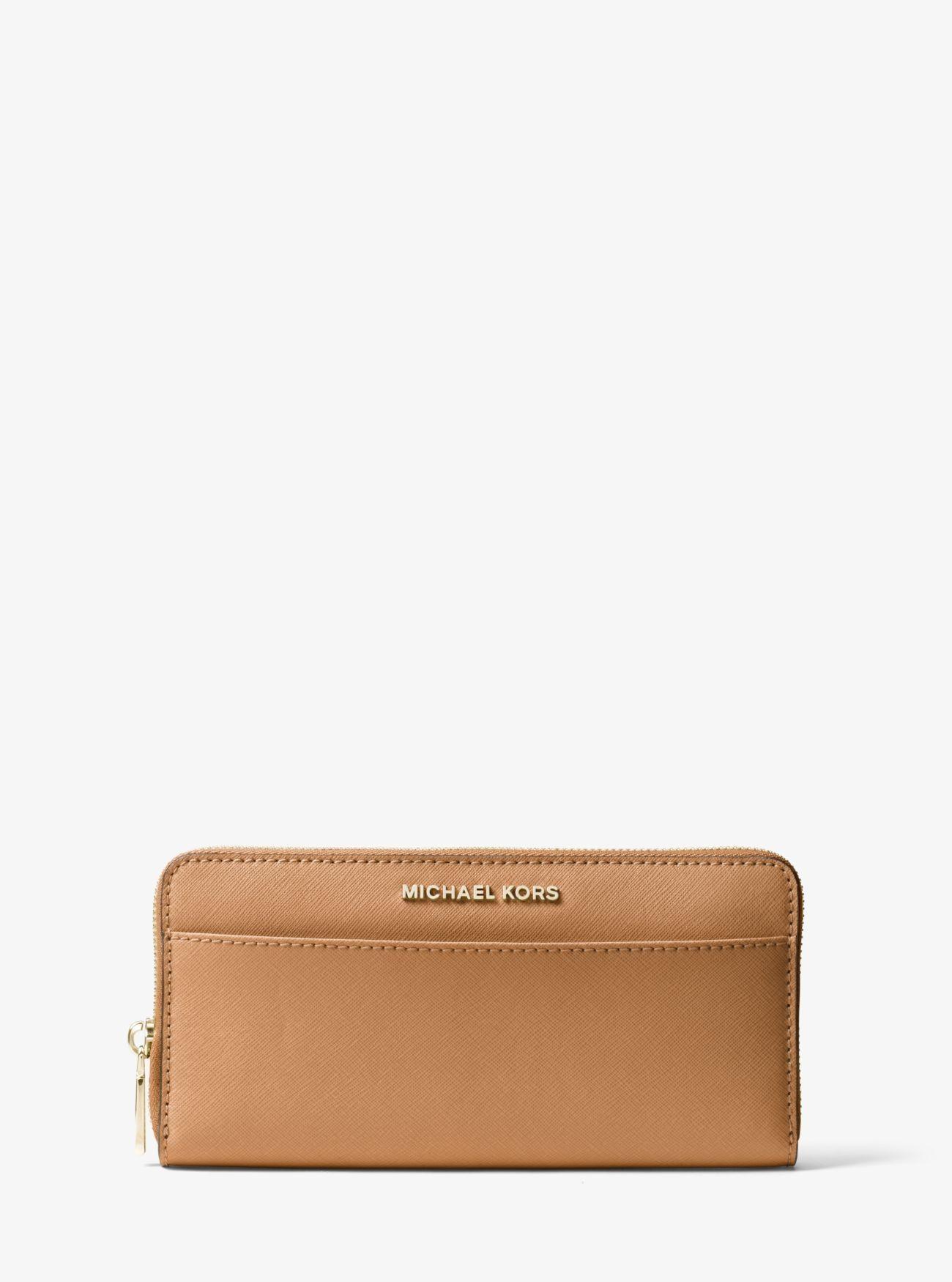 13a69b94d64c Outlet Michael Kors Acorn1 Jet Set Saffiano Leather Continental Wallet Sale