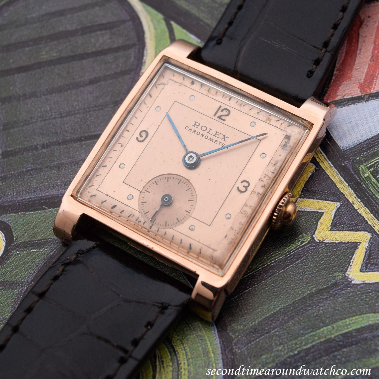 a8920748bee A breathtaking 1940 vintage Rolex Square-shaped timepiece in 14K Rose Gold  with an aged