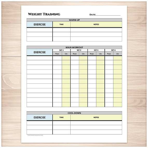 Printable Weight Training Daily Log  Workout Tracking Sheet With