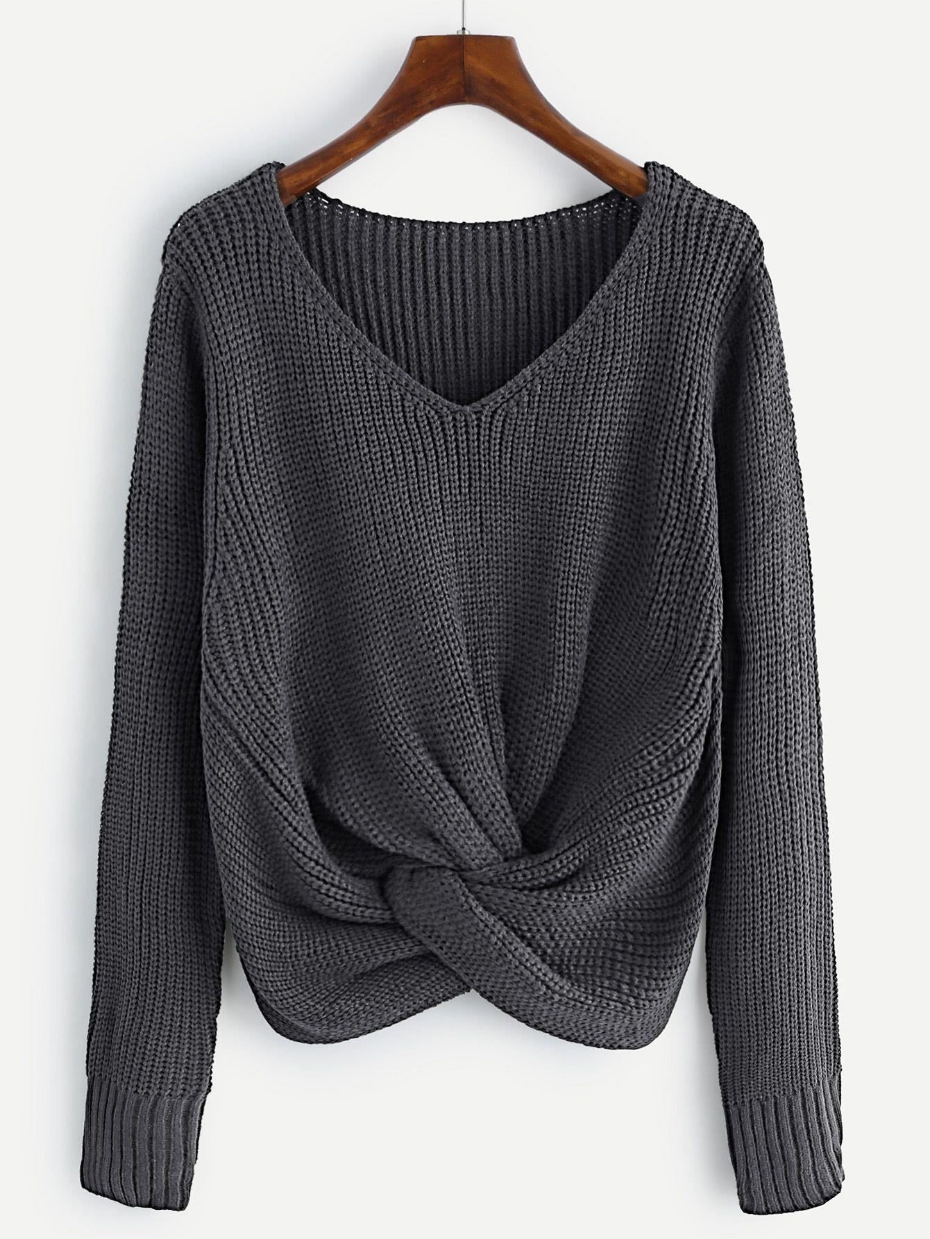 4e03f02b86 V-neckline Twist Front Sweater in 2018