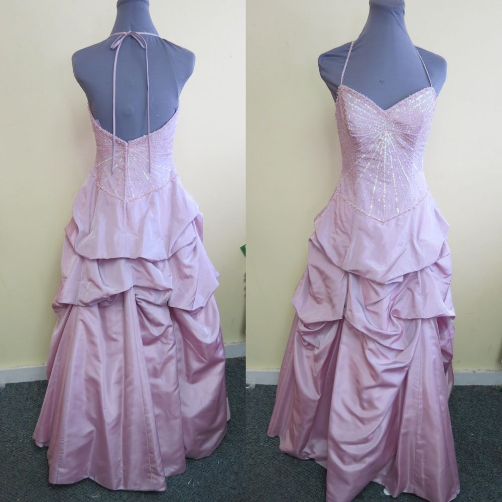 Beaded u sequined mauve pink prom evening formal dress alfred angelo