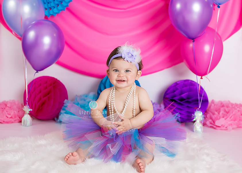 Pink purple aqua cake smash professional photographer melbourne photographer werribee newborn photography