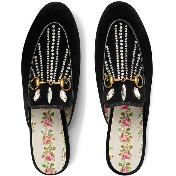 227396cba2f Gucci Princetown velvet slipper with crystals (71