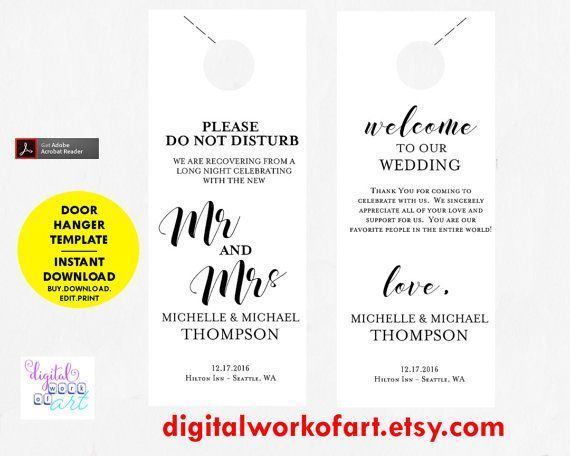 Door Hanger Template Ideas For Hotels Marketing And Advertising - Wedding door hangers template