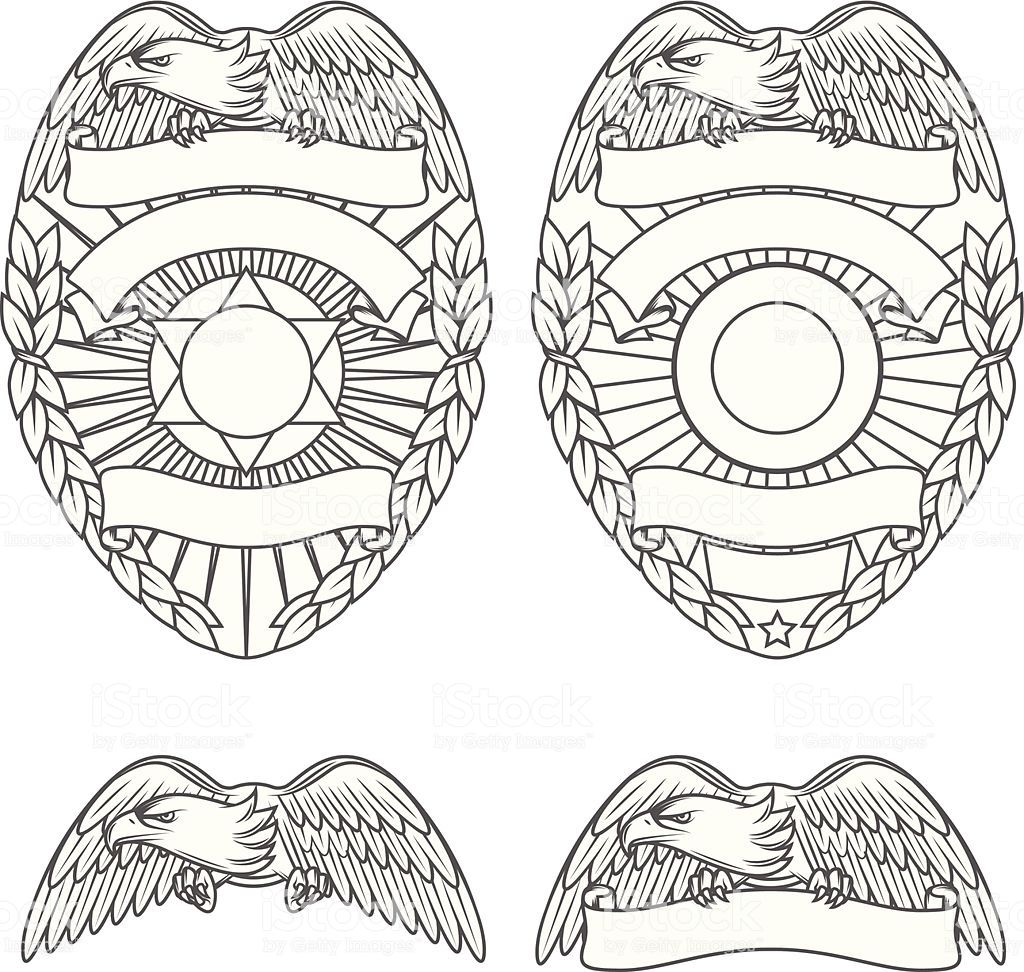 High detailed police department badges and design elements