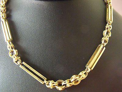 Art Nouveau 14k Solid Pink Gold Pocket Watch Chain Bracelet Vintage 39.2 Gram's