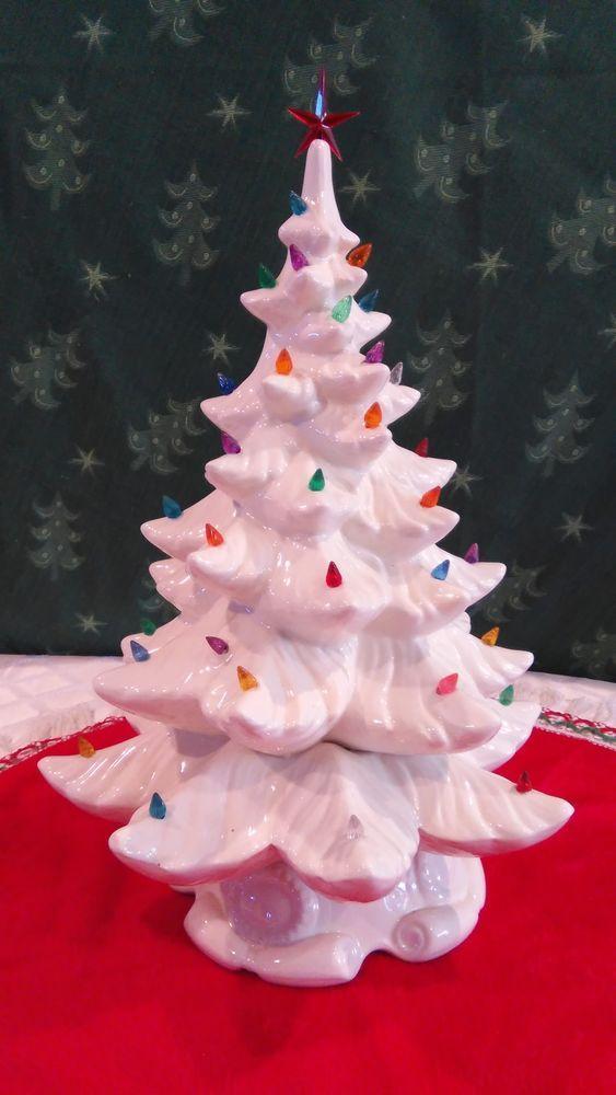 White Ceramic Christmas Tree With Music Box 20 5 Atlantic Mold Lg