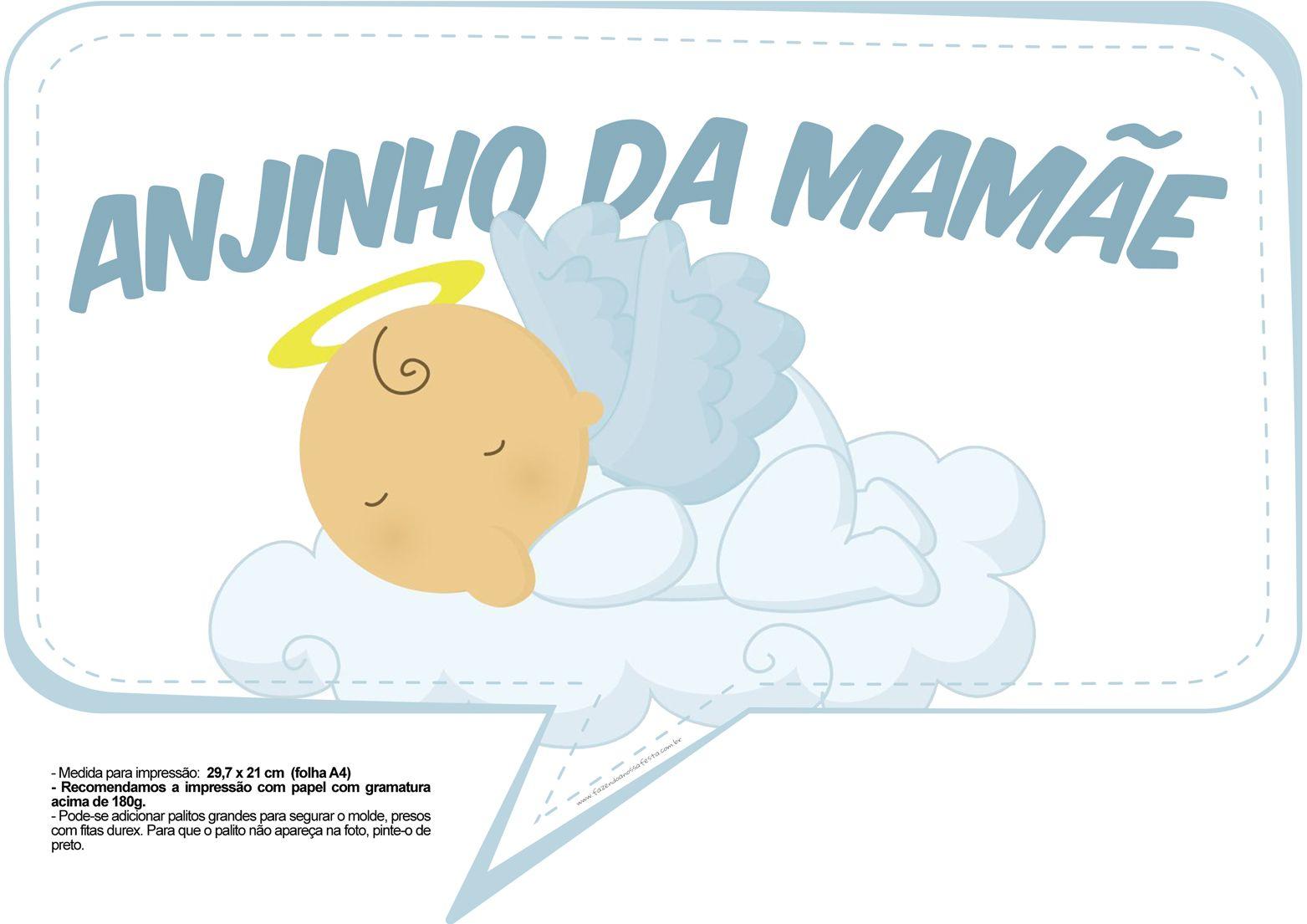 Plaquinhas para Chá de Bebê - Anjinho da Mamãe