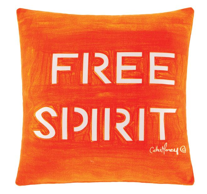 Cathie Maney Free Spirit 40x40cm Filled Cushion Orange