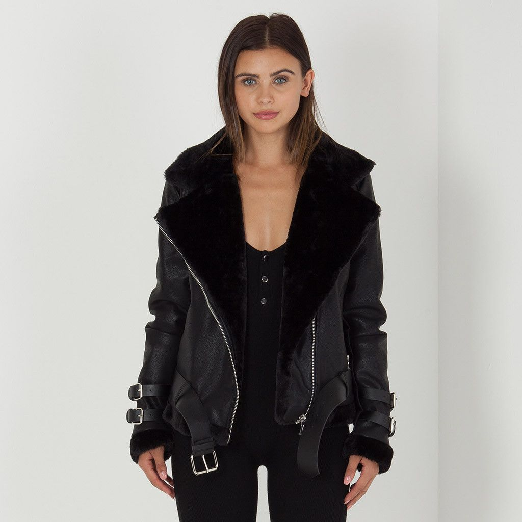 Women's Shearling Biker Jacket | Coats, Faux fur and Jackets